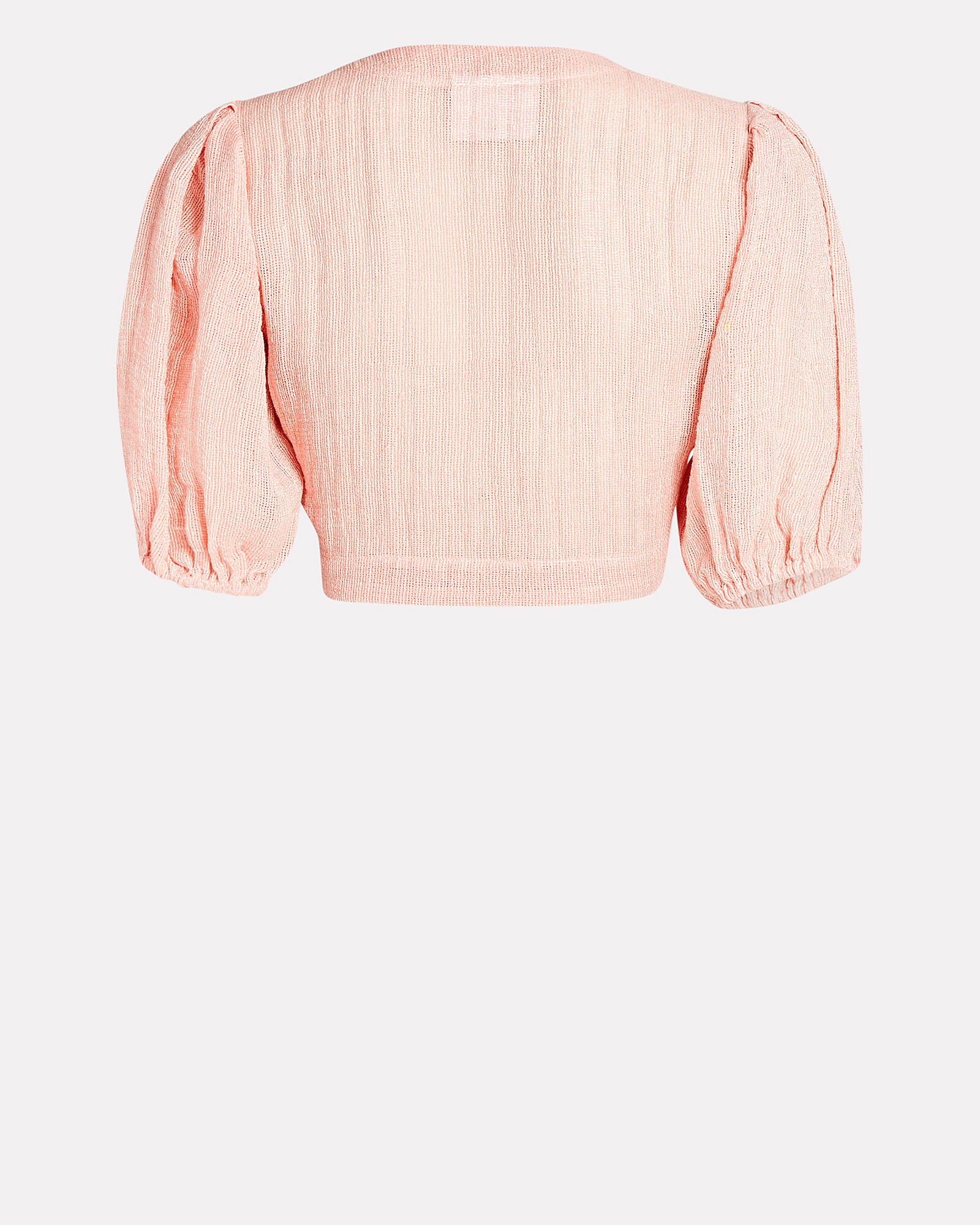 Pouf Tie-Front Crop Top, PINK, hi-res