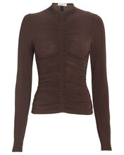 Ansel Ruched Jersey Top, BROWN, hi-res
