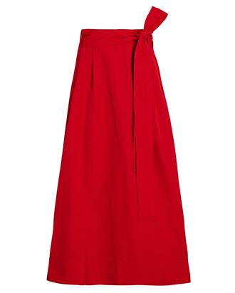 Snoop Belted Midi Skirt, RED, hi-res