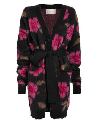Hawaiian Flower Cardigan Coat, MIDNIGHT/FUCHSIA FLORAL, hi-res