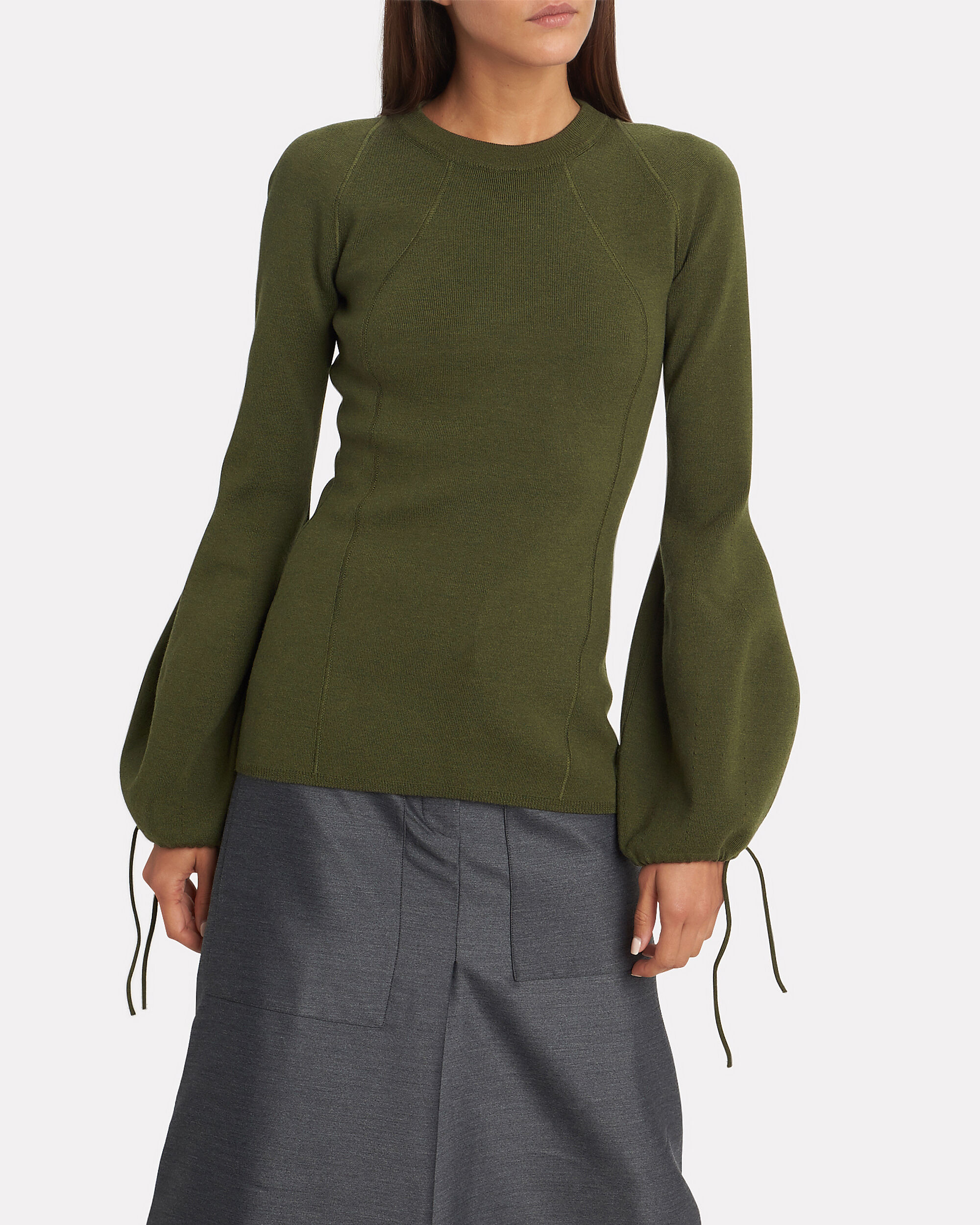 Ballooned Cuffs Ribbed Sweater, OLIVE GREEN, hi-res