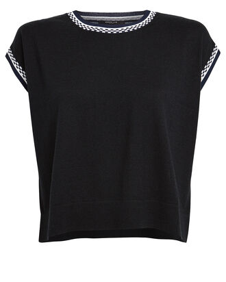 Cropped Printed Silk Back Sweater, BLACK, hi-res