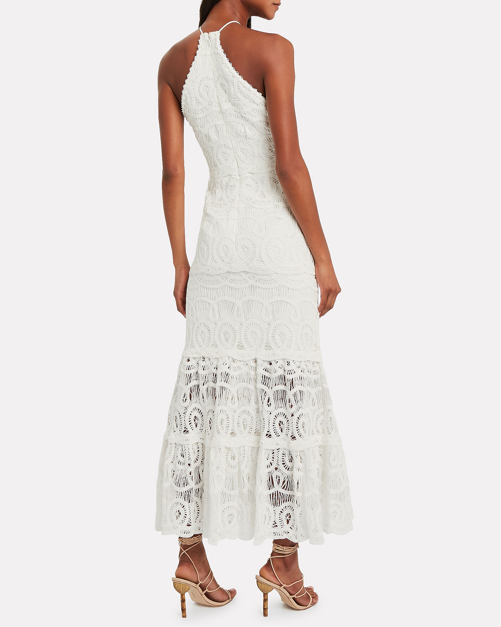 Yvonna Lace Halter Dress, WHITE, hi-res
