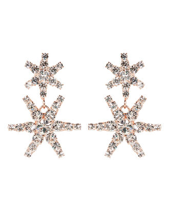 Pluto Crystal Star Drop Earrings, ROSE GOLD, hi-res
