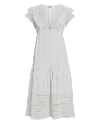 Eden Ruffled Gauze Midi Dress, WHITE, hi-res