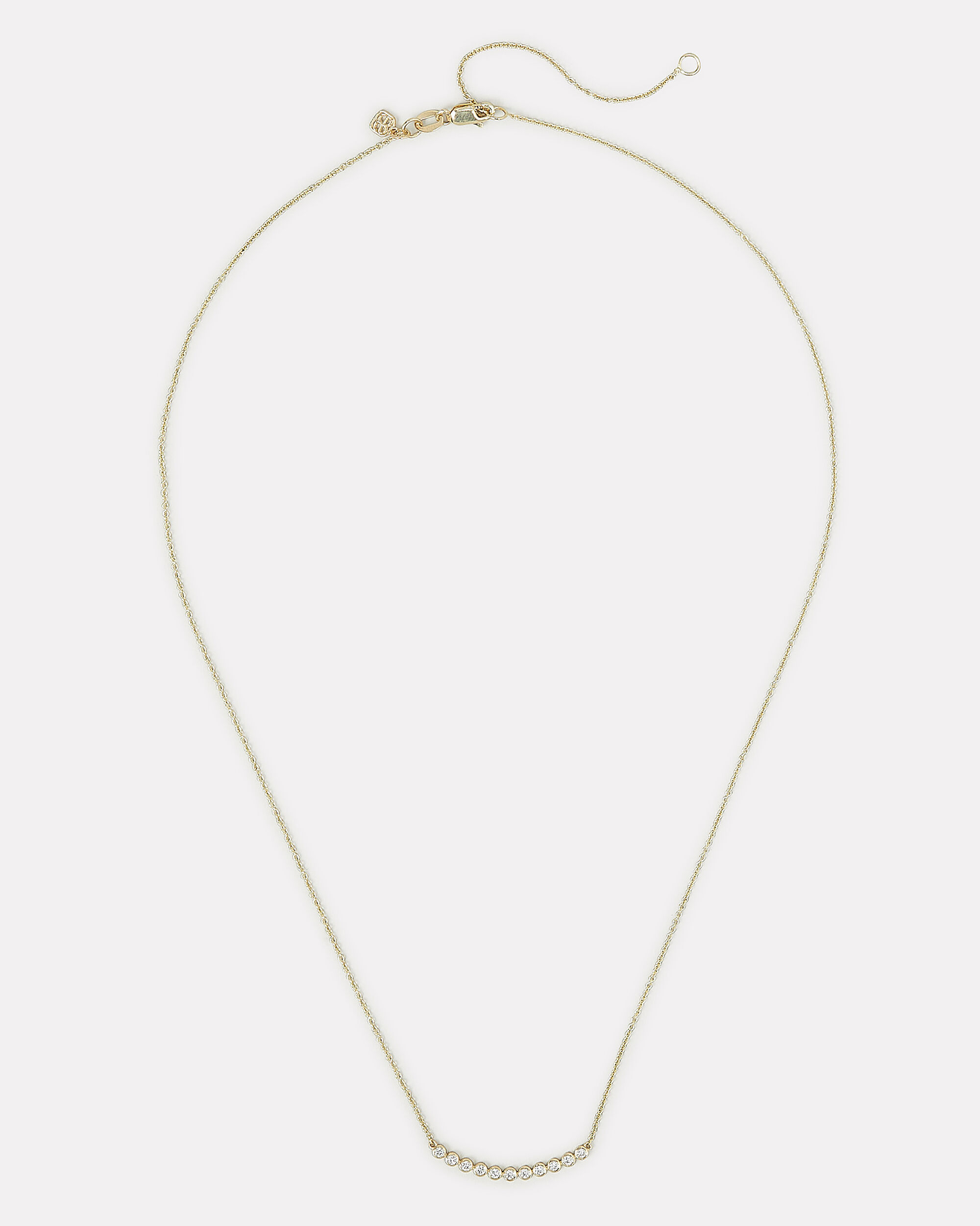 Eleven Stone Bezel Necklace, GOLD, hi-res