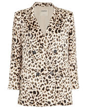 Taryn Leopard Double Breasted Blazer, MULTI, hi-res