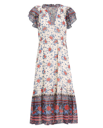 Reese Georgette Midi Dress, WHITE/RED/BLUE, hi-res