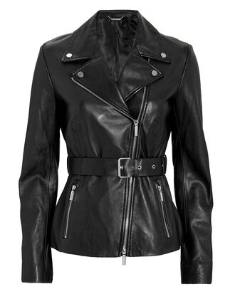 Biker Leather Jacket, BLACK, hi-res