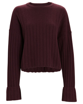 Nathan Cashmere Rib Knit Sweater, RED-DRK, hi-res