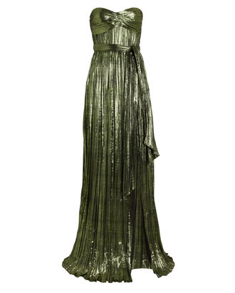 Metallic Plissé Strapless Gown, GREEN-LT, hi-res