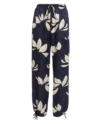 Floral Silk Pants, NAVY/FLORAL, hi-res