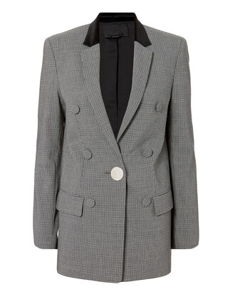 Leather Sleeve Houndstooth Blazer, GREY, hi-res
