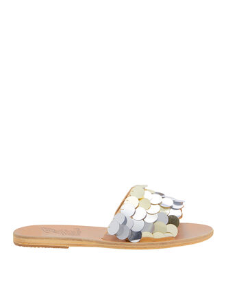 Taygete Sequin Flat Sandals, SILVER, hi-res
