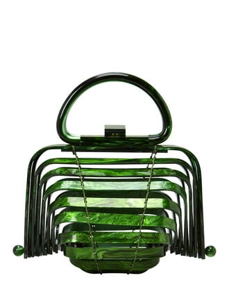 Lilleth Acrylic Green Fold Top Bag, GREEN, hi-res