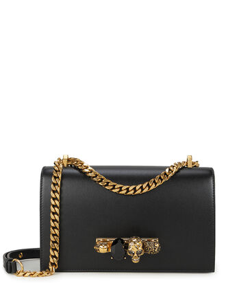 Jewel Knuckle Black Chain Strap Shoulder Bag, BLACK, hi-res