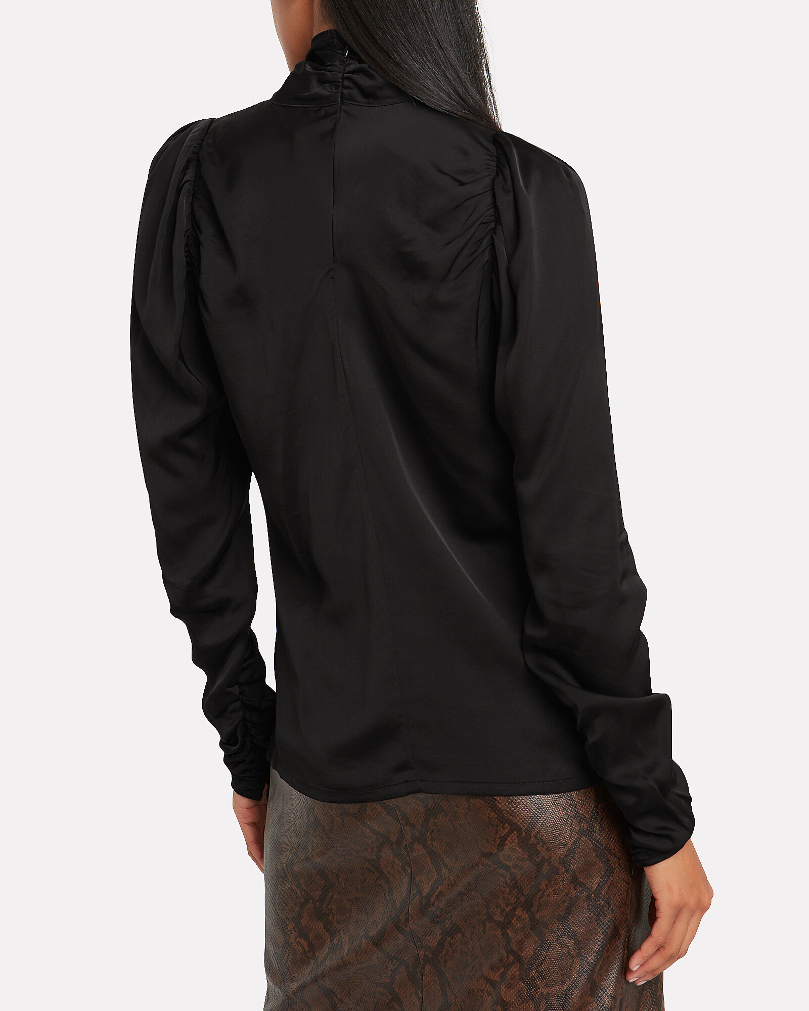 Nora Ruched Charmeuse Blouse, BLACK, hi-res