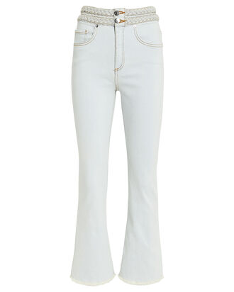 Carly Braided Kick Flare Jeans, LIGHT WASH DENIM, hi-res