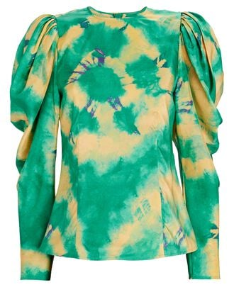 Ora Tie-Dyed Silk Blouse, GREEN, hi-res