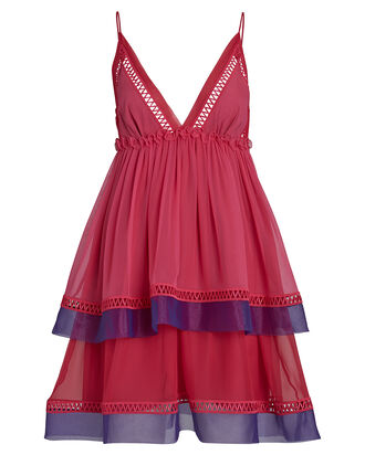 Ruffled Silk Chiffon Mini Dress, PINK-DRK, hi-res
