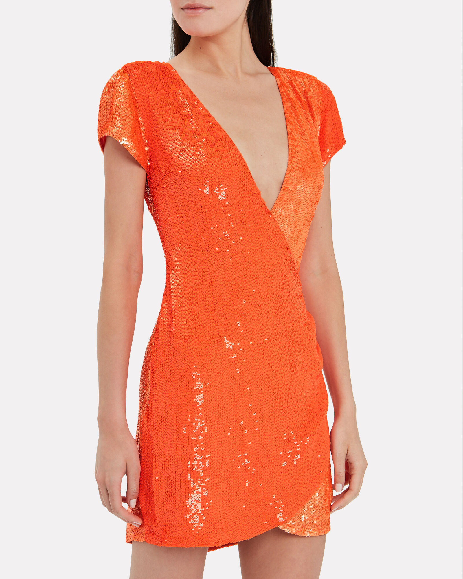 Olya Two-Tone Sequin Dress, ORANGE, hi-res