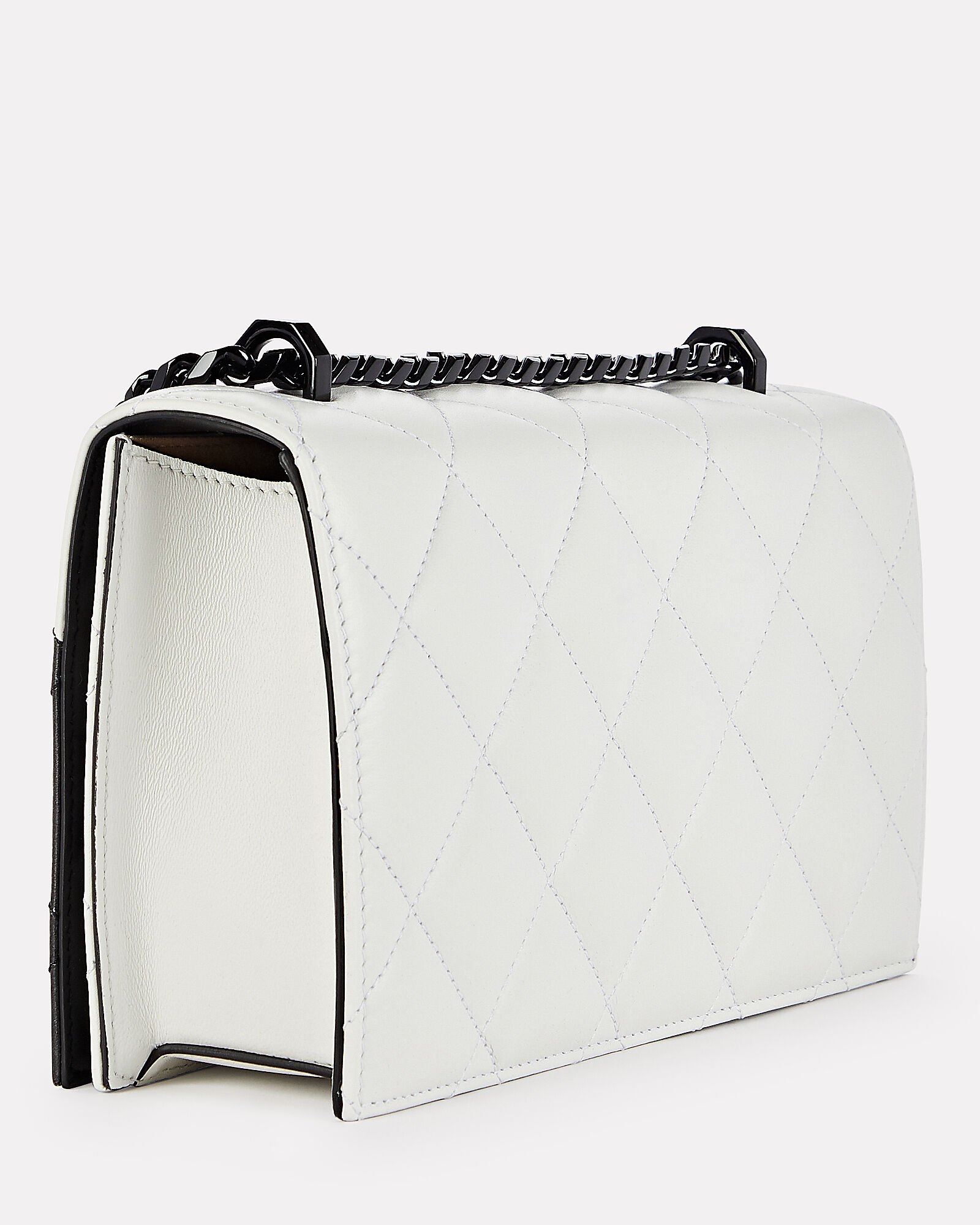 Quilted Jewelled Satchel, BLACK/WHITE, hi-res