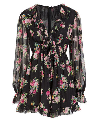 Honour Silk Playsuit, BLACK/FLORAL, hi-res