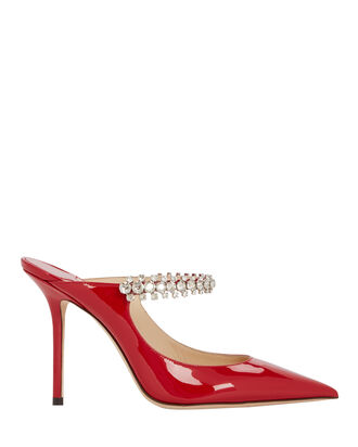 Bing Patent Crystal-Embellished Mules, RED, hi-res