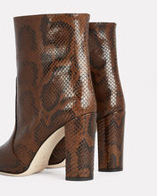 Python Embossed Leather Booties, BROWN, hi-res