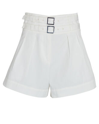 Leslie Double Belted Cotton Shorts, WHITE, hi-res