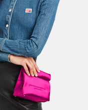 Satin Lunch Bag Clutch, MAGENTA, hi-res
