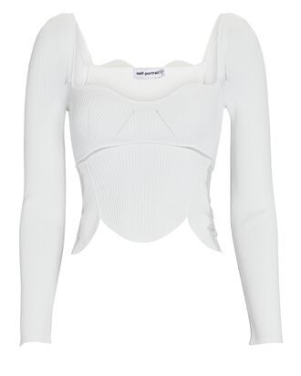 Lace-Trimmed Rib Knit Top, IVORY, hi-res