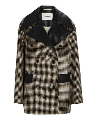 Tommi Double-Breasted Houndstooth Jacket, BLK/WHT, hi-res
