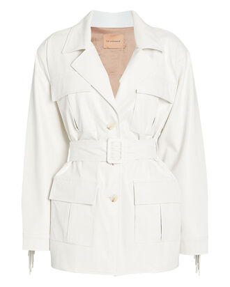Cher Faux Leather Cargo Jacket, WHITE, hi-res