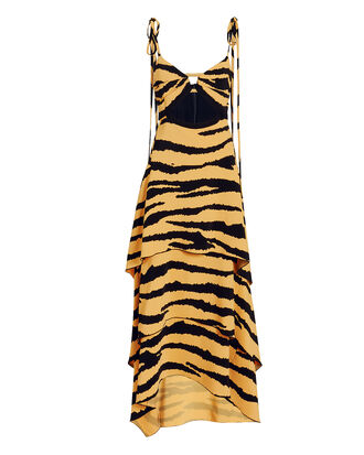 Tiered Tiger Print Cutout Dress, ANIMAL PRINT, hi-res