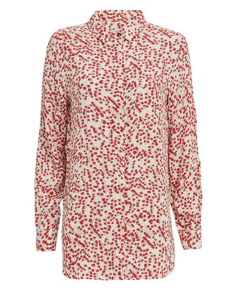 Printed Crepe Button Down Top, RED/WHITE, hi-res