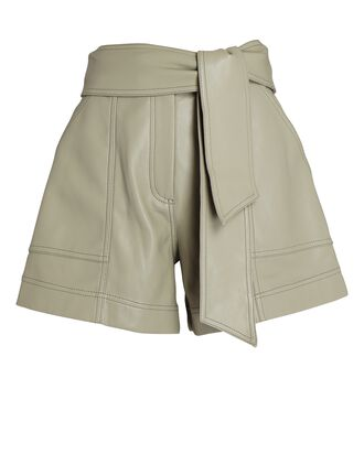 Mari Vegan Leather Tie-Waist Shorts, PALE OLIVE, hi-res
