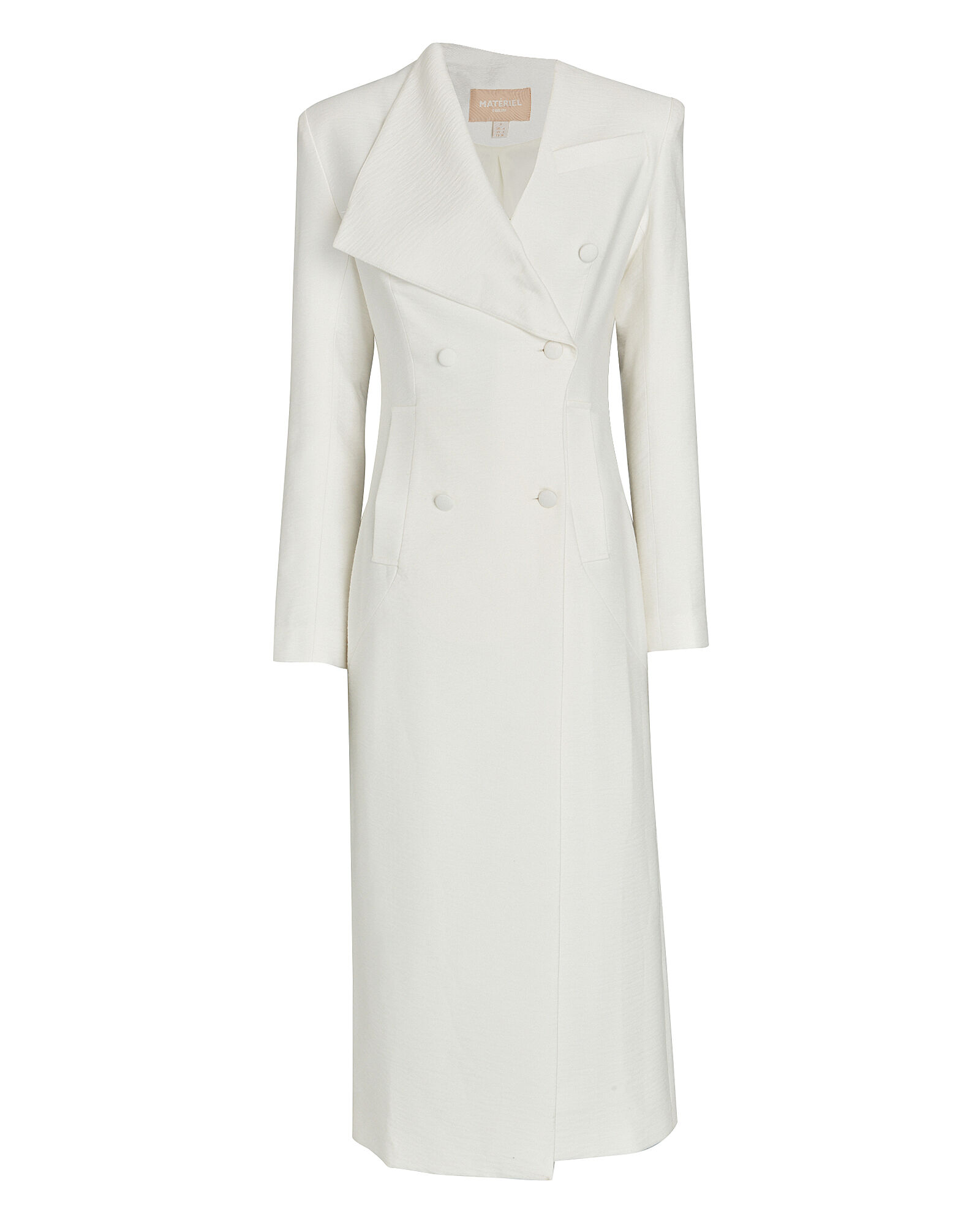 Asymmetrical Double-Breasted Coat, WHITE, hi-res