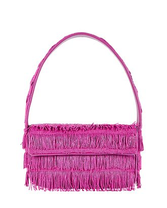 Tommy Beaded Fringe Shoulder Bag, PINK, hi-res