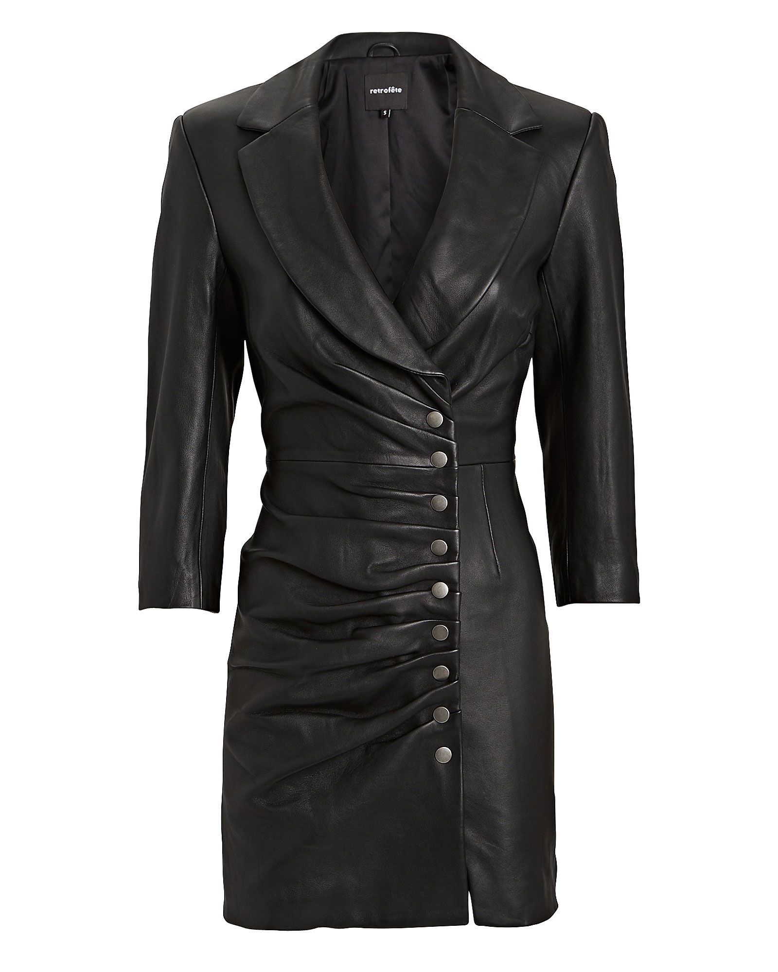 Willa Leather Mini Dress, BLACK, hi-res