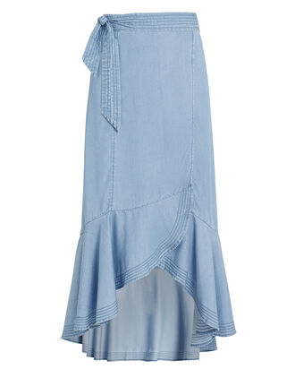 Katie Chambray Wrap Skirt, BLUE-LT, hi-res