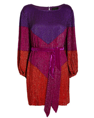 Grace Colorblocked Sequin Mini Dress, PURPLE/ORANGE/RED, hi-res