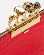 Skull Four Ring Embossed Leather Clutch, RED, hi-res