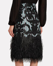 Layered Feathers Midi Skirt, BLACK, hi-res