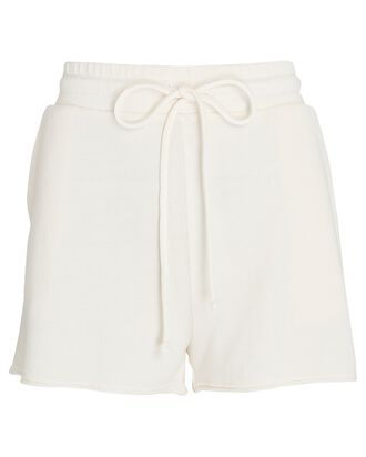 Cotton-Blend Terry Shorts, IVORY, hi-res