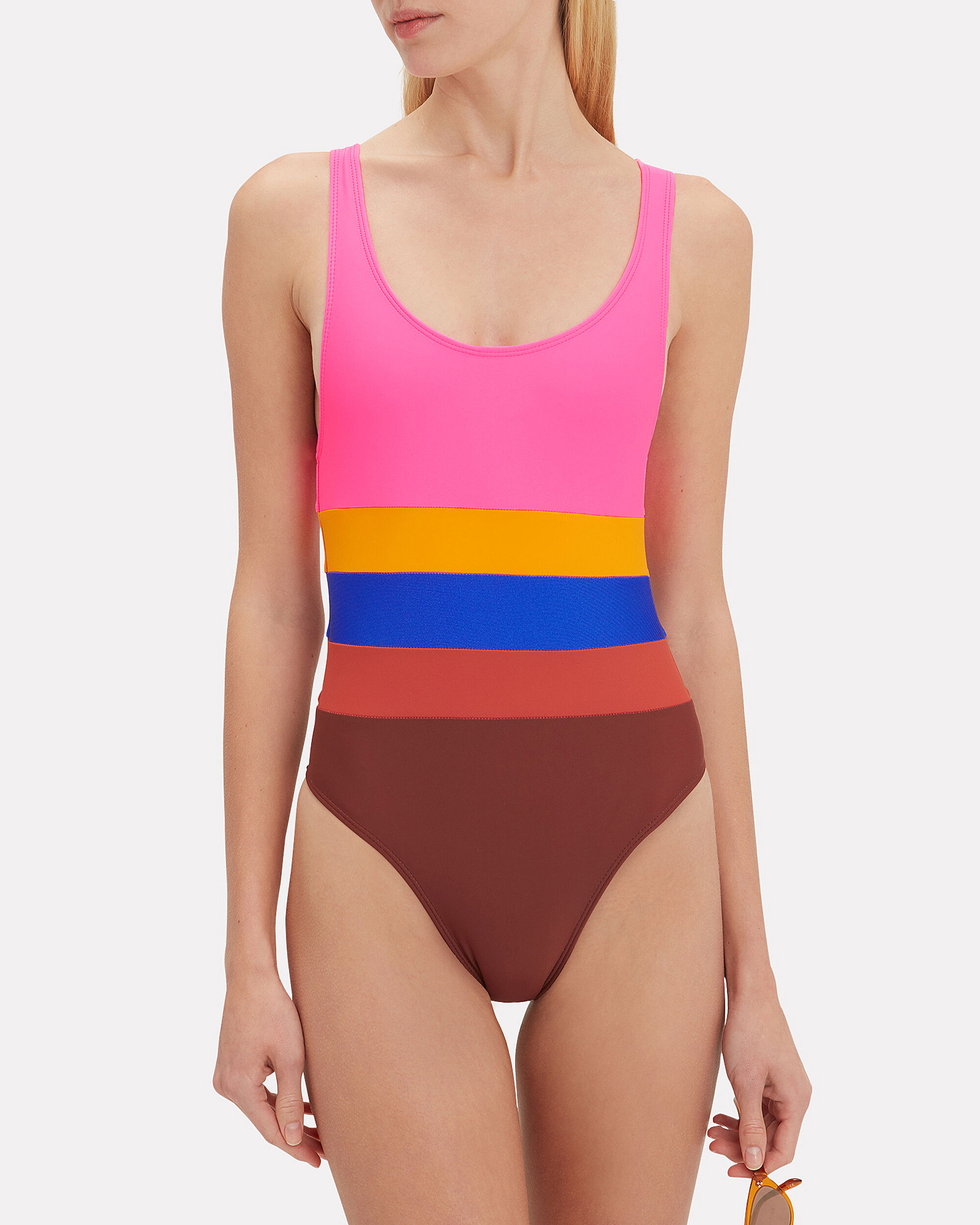 Randell Striped One Piece Swimsuit, PINK/ORANGE/BLUE, hi-res