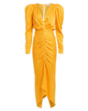 Astrid Moiré Ruched Dress, YELLOW, hi-res