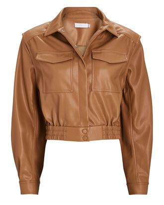 Marabella Cropped Vegan Leather Jacket, BROWN, hi-res