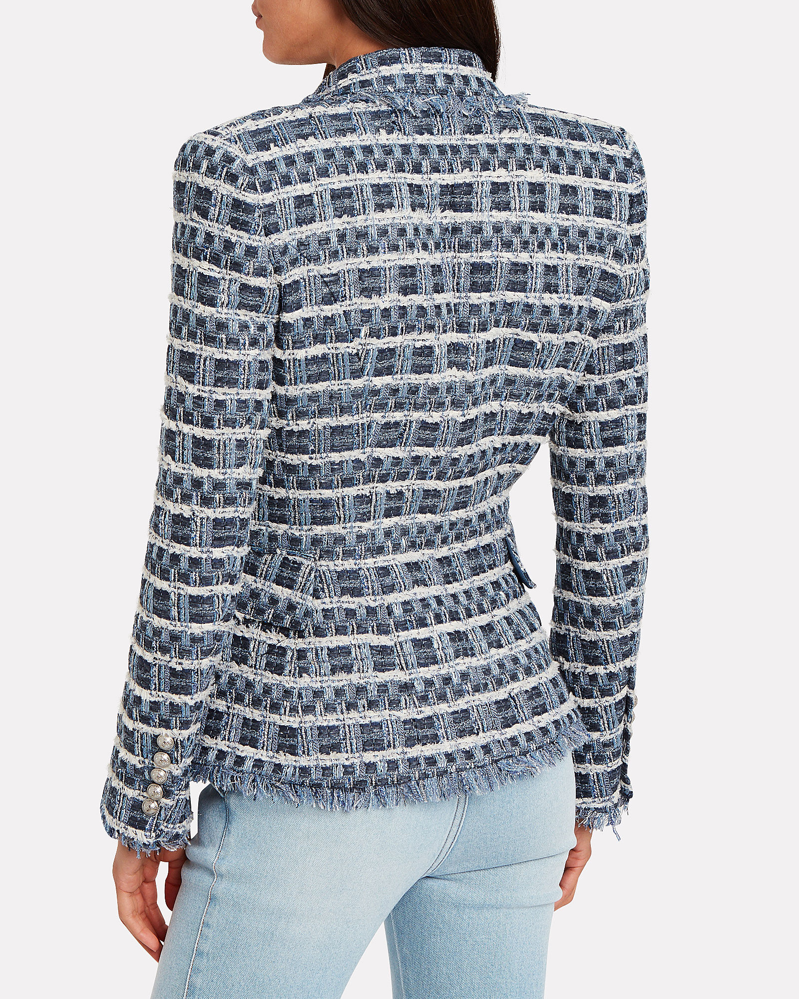 Double-Breasted Bouclé Blazer, BLUE-MED, hi-res