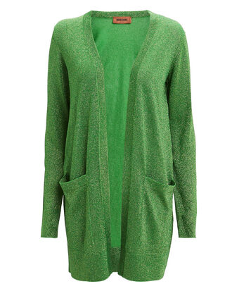 Green Lurex Cardigan, GREEN, hi-res
